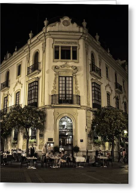Night Cafe Greeting Cards - Spain at Night Greeting Card by Mary Machare