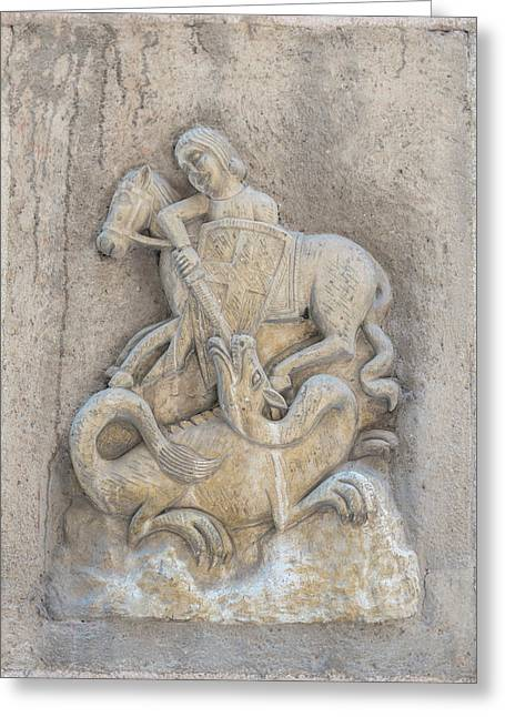Spain, Barcelona, Relief Sculpture Of St Greeting Card by Jim Engelbrecht