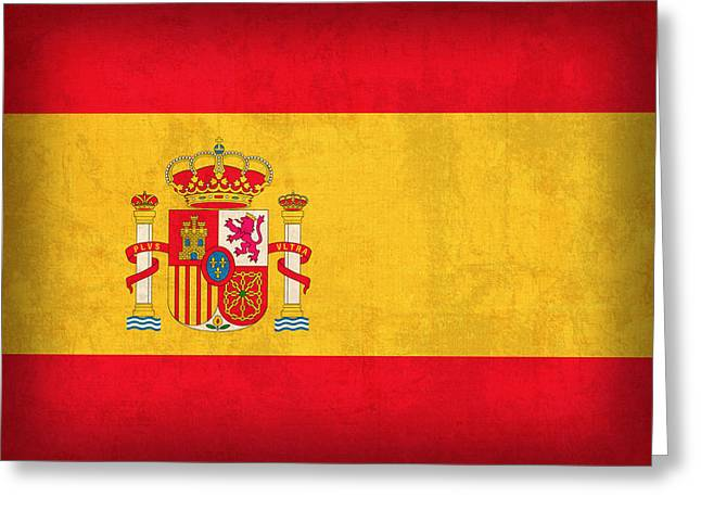 Flag Greeting Cards - Spain Flag Vintage Distressed Finish Greeting Card by Design Turnpike
