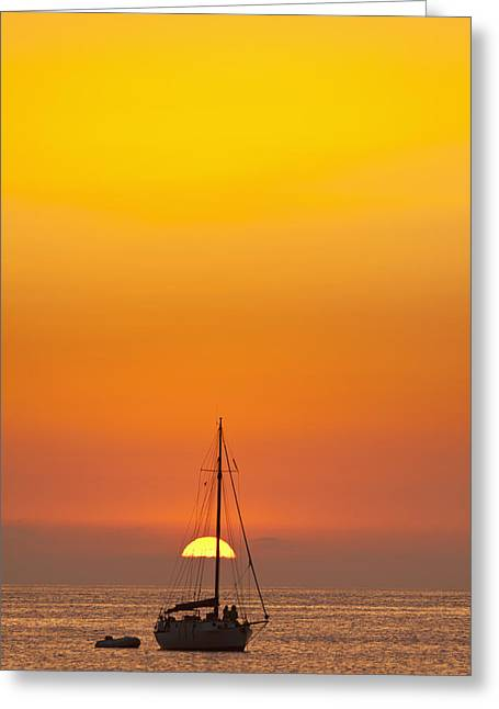 Sailboats In Water Greeting Cards - Spain, People Watching Sunset Greeting Card by Ian Cumming