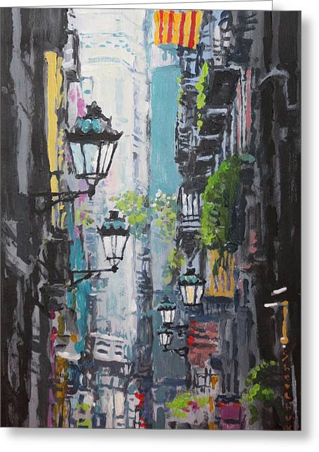 Street Lamps Greeting Cards - Spain Series 03 Barcelona Greeting Card by Yuriy Shevchuk