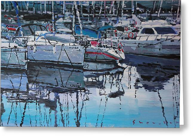 Costa Paintings Greeting Cards - Spain Series 05 Port del Balis Greeting Card by Yuriy Shevchuk