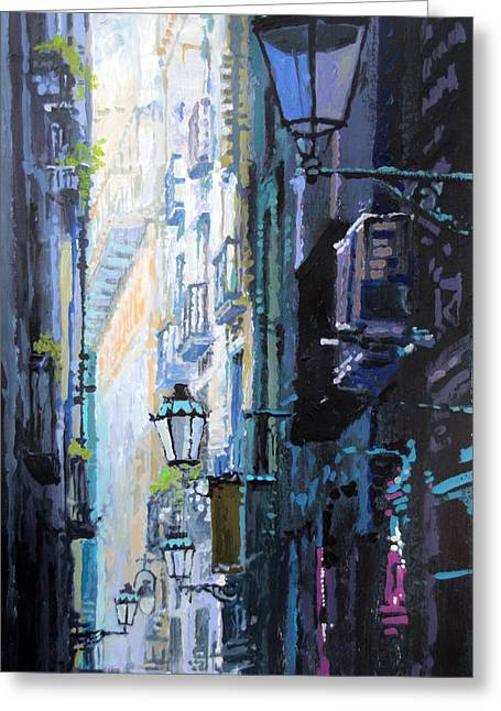 Streetscape Paintings Greeting Cards - Spain Series 06 Barcelona Greeting Card by Yuriy Shevchuk