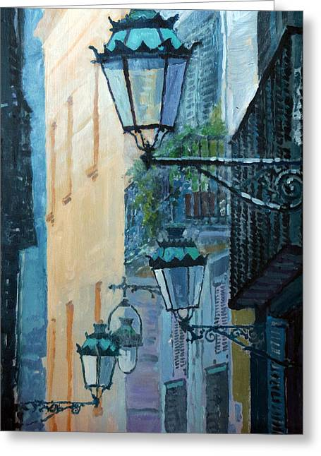 Streetscape Paintings Greeting Cards - Spain Series 07 Barcelona  Greeting Card by Yuriy Shevchuk