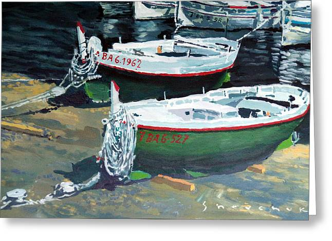Sea Scape Greeting Cards - Spain Series 11 Cadaques Port Lligat Greeting Card by Yuriy Shevchuk