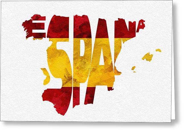 Abstract Map Mixed Media Greeting Cards - Spain Typographic Map Flag Greeting Card by Ayse Deniz