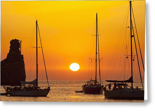 Sailboats In Water Greeting Cards - Spain, Yachts And Strange Shaped Rock Greeting Card by Ian Cumming