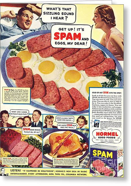 Twentieth Century Greeting Cards - Spam 1960s Usa Hormel Meat Tinned Greeting Card by The Advertising Archives