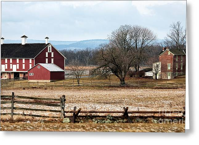 Red School House Photographs Greeting Cards - Spanglers Farm Greeting Card by John Rizzuto