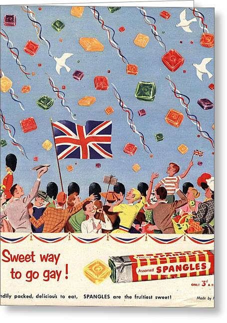Candy Drawings Greeting Cards - Spangles 1953 1950s Uk Coronation Greeting Card by The Advertising Archives