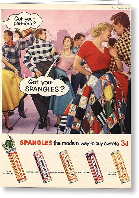 Twentieth Century Drawings Greeting Cards - Spangles 1956 1950s Uk Sweets Party Greeting Card by The Advertising Archives