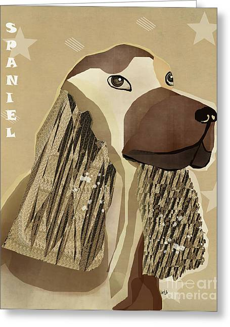 Spaniel Digital Art Greeting Cards - Spaniel Dog  Greeting Card by Bri Buckley