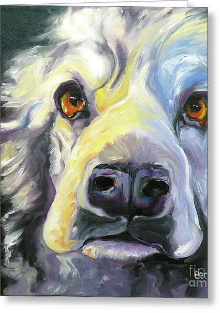 Dog Prints Drawings Greeting Cards - Spaniel in Thought Greeting Card by Susan A Becker