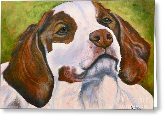 Spaniel Drawings Greeting Cards - Spaniel Soul Greeting Card by Susan A Becker