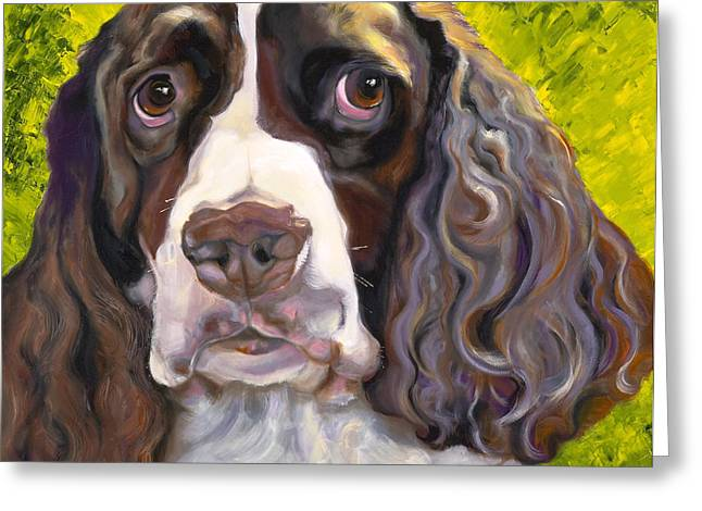 Spaniel Drawings Greeting Cards - Spaniel The Eyes Have It Greeting Card by Susan A Becker