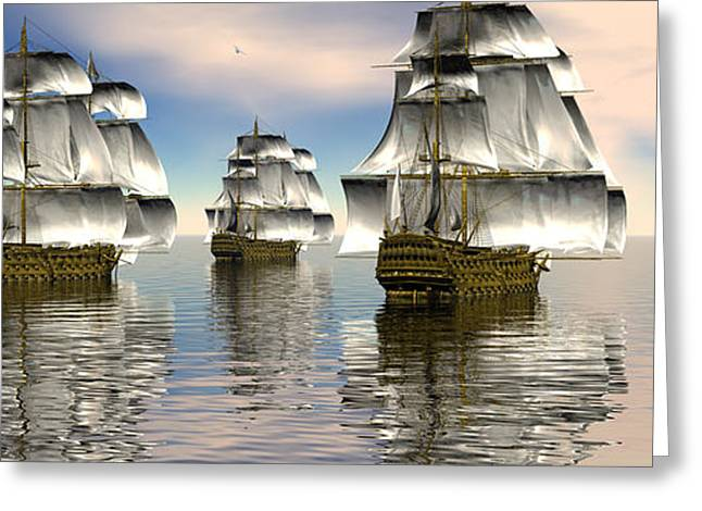 Tall Ships Greeting Cards - Spanish armada Greeting Card by Claude McCoy