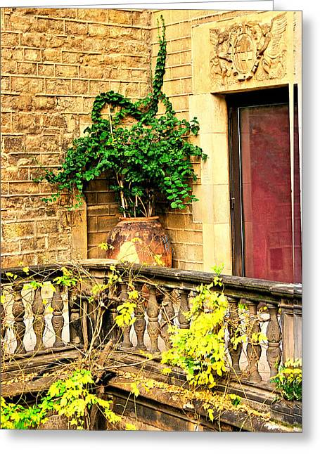 Landscape Ceramics Greeting Cards - Spanish balcony - Seville FNT 235 Greeting Card by Norberto Torriente