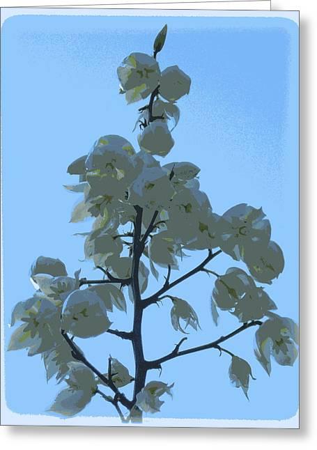 Bayonet Digital Art Greeting Cards - Spanish Bayonet Blooms in Blue Greeting Card by Sheri McLeroy