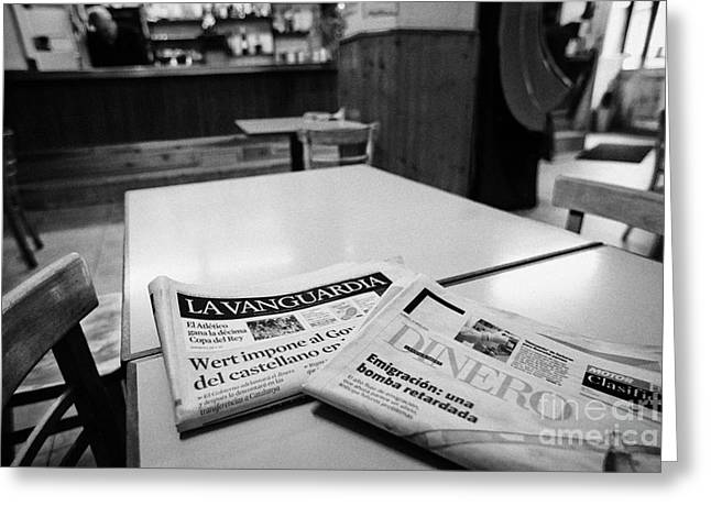 Catalunya Greeting Cards - Spanish Catalan Newspapers In A Small Bar Cafe In Baga Catalonia Spain Greeting Card by Joe Fox