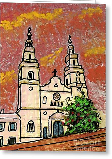Red Buildings Mixed Media Greeting Cards - Spanish Church Greeting Card by Sarah Loft
