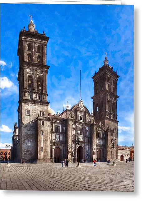 Puebla Greeting Cards - Spanish Colonial Cathedral of Puebla Mexico Greeting Card by Mark E Tisdale