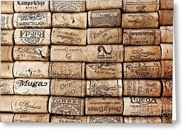 Images Of Wine Bottles Photographs Greeting Cards - Spanish Corks Greeting Card by Clare Bevan