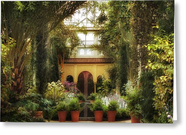 Planters Greeting Cards - Spanish Courtyard Greeting Card by Jessica Jenney