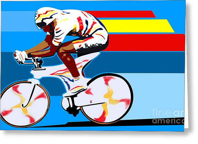 Cogs Greeting Cards - spanish cycling athlete illustration print Miguel Indurain Greeting Card by Sassan Filsoof