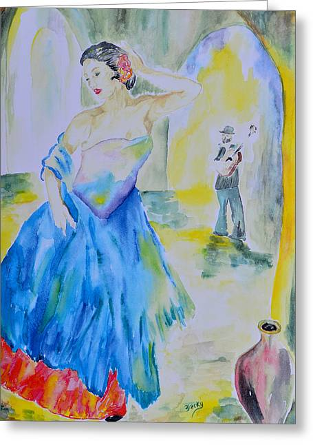 Spanish Dancer Greeting Card by Donna Blackhall