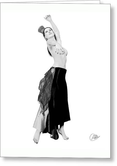 Spanish Dancer Greeting Cards - Spanish Cabaret Dancer Greeting Card by Quim Abella