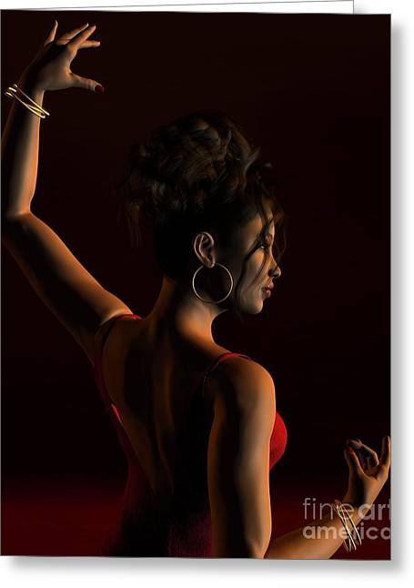 Gold Earrings Greeting Cards - Spanish Flamenco Dancer - 1 Greeting Card by Fairy Fantasies