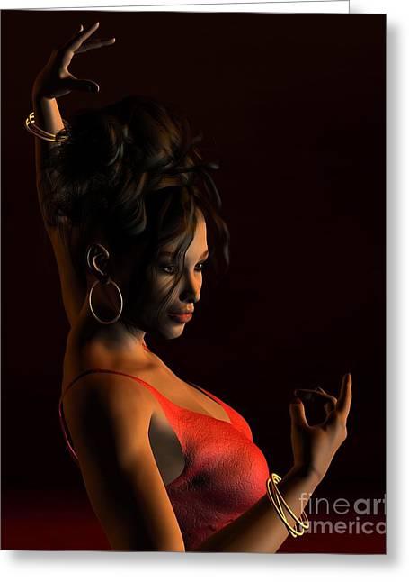 Gold Earrings Digital Greeting Cards - Spanish Flamenco Dancer - 2 Greeting Card by Fairy Fantasies
