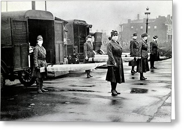 Spanish Flu Ambulances Greeting Card by Library Of Congress