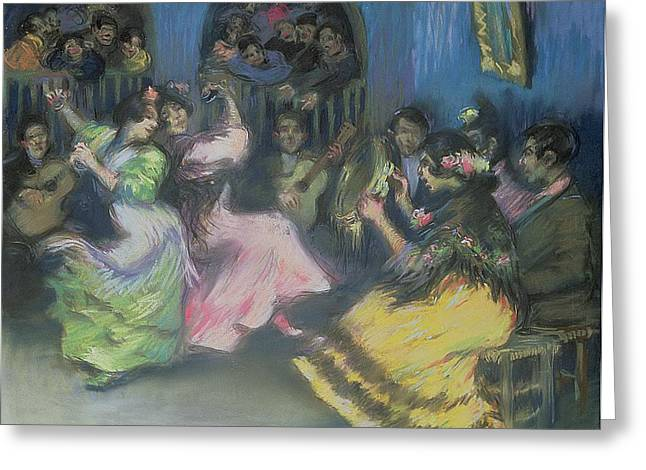 Montmartre Greeting Cards - Spanish Gypsy Dancers, 1898 Greeting Card by Ricardo Canals y Llambi