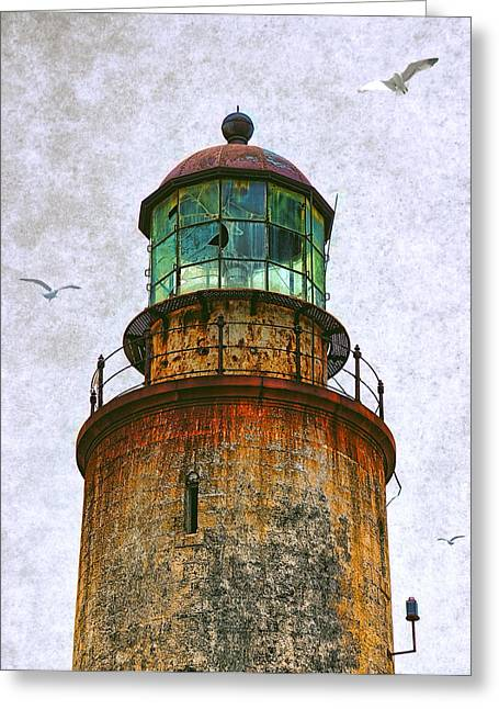 Stone House Mixed Media Greeting Cards - Spanish Lighthouse Greeting Card by Daniel Hagerman