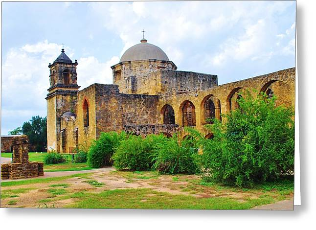 Spanish Mission In Texas Greeting Card by Richard Jenkins