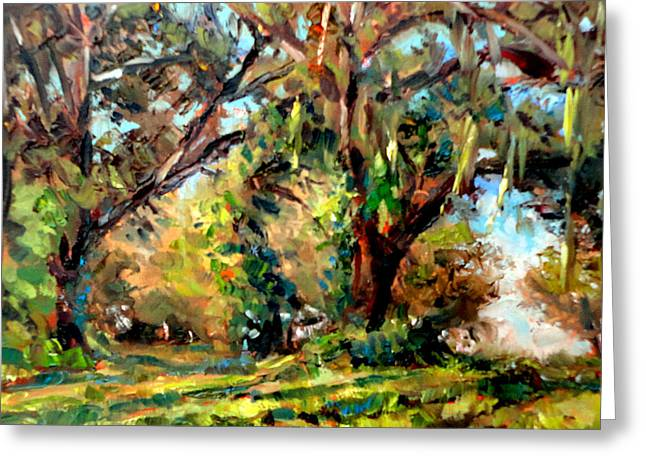 Mountain Climbing Print Paintings Greeting Cards - Spanish Moss Greeting Card by Mark Hartung