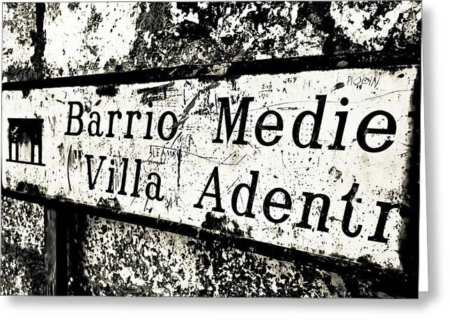 Extremadura Greeting Cards - Spanish Old Sign BW Greeting Card by Calvin Hanson