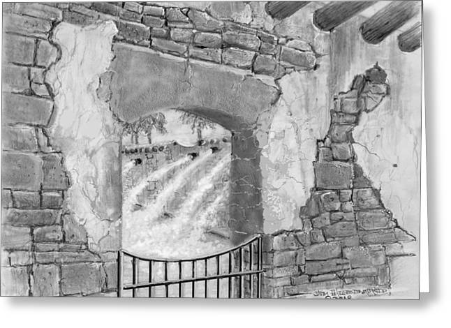 Spring Scenes Drawings Greeting Cards - Spanish Springs-fountains Greeting Card by Jim Hubbard