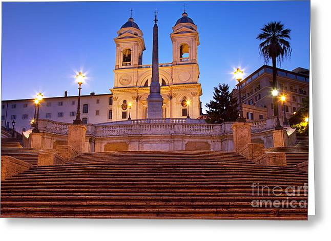 City Lights Greeting Cards - Spanish Steps Dawn Greeting Card by Brian Jannsen