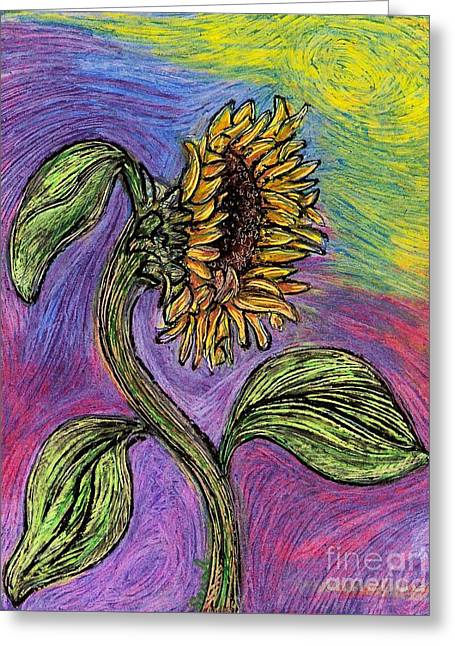 Sarah Loft Drawings Greeting Cards - Spanish Sunflower Greeting Card by Sarah Loft