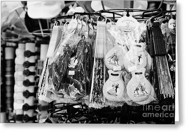 Spanish Market Greeting Cards - Spanish Tourist Souvenirs And Gifts On A Stall On La Rambla Barcelona Catalonia Spain Greeting Card by Joe Fox