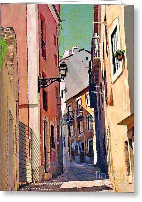 Europe Mixed Media Greeting Cards - Spanish Town Greeting Card by Sarah Loft