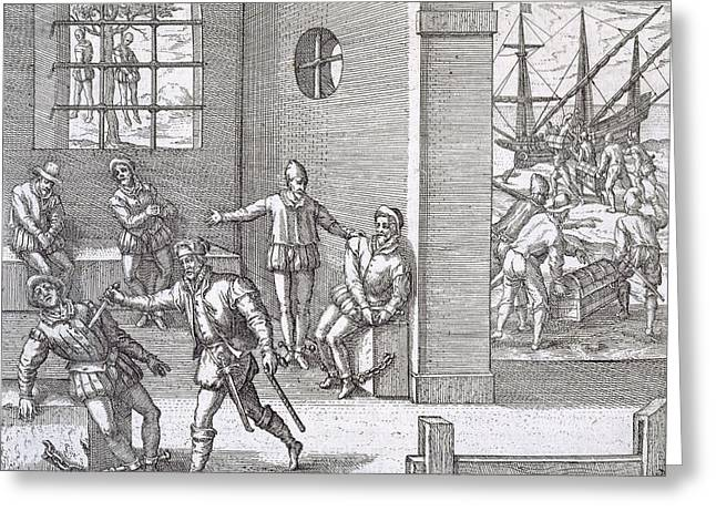 Prisoner Paintings Greeting Cards - Spanish traitors in Panama Greeting Card by Theodore De Bry