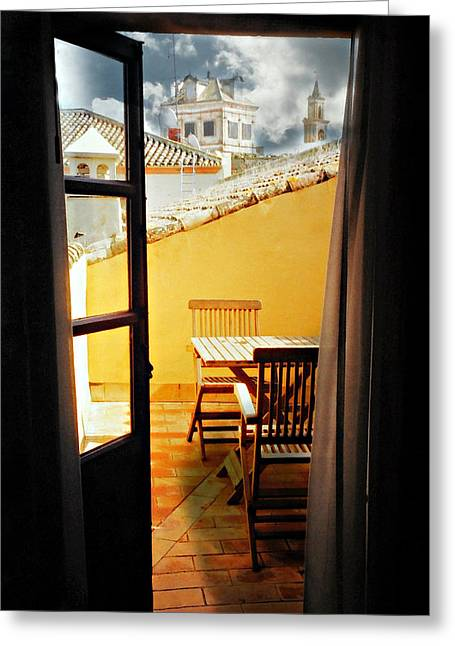 Room With A View Greeting Cards - Spanish Veranda  Greeting Card by Diana Angstadt