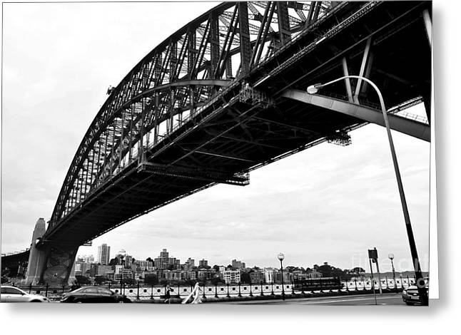 Famous Bridge Greeting Cards - Spanning Sydney Harbour - Black and White Greeting Card by Kaye Menner