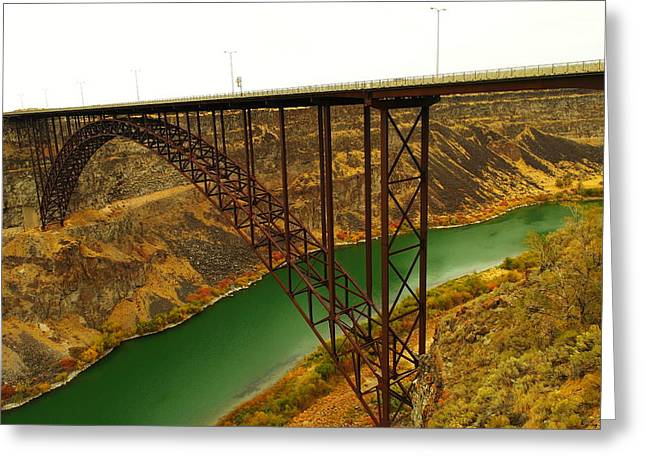 River View Photographs Greeting Cards - Spanning The Snake River At Twin Fall  Greeting Card by Jeff  Swan