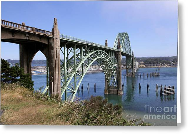 Yaquina Bay Bridge Greeting Cards - Spanning The Yaquina Bay Greeting Card by Christiane Schulze Art And Photography