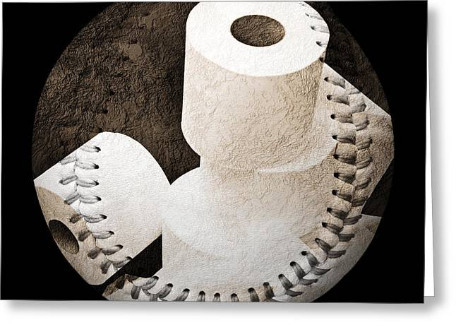 Take-out Digital Greeting Cards - Spare Rolls Baseball Square Greeting Card by Andee Design