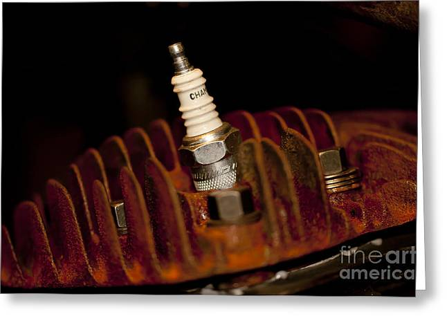 Sparkplug And Rusty Cooling Fins Greeting Card by Wilma  Birdwell